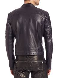 sel black gold quilted detail leather jacket in black