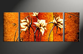 Small Picture 3 Piece Floral Orange Huge Canvas Oil Paintings