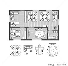 Business Office Plan Witch Furniture Vectorのイラスト素材 30187278