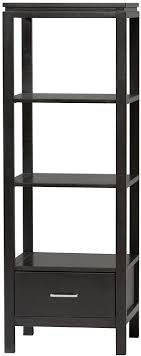 This Linon Sutton media tower features a drawer, shelves and a black finish.