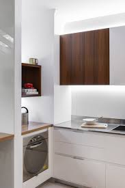 Kitchen Office Small Contemporary Kitchen Makes Room For Home Office And Laundry