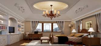 Decorations:Unique False Ceiling Design Bedroom Idea Round Vaulted White  Ceiling Bedroom With Classic Chandelier