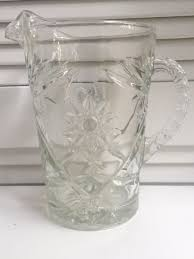 clear prescut star glass pitcher southern vintage table vintage china al nc