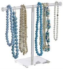 Acrylic Necklace Display Stands T Bar Necklace Display Acrylic Jewelry Stand for Long Chains 76