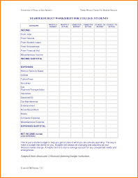 Student Budget Planner University Student Budget Template Selo L Ink Co Example Of College