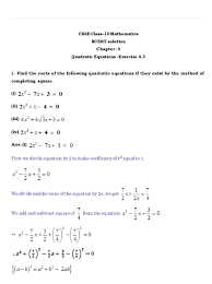 ch 4 quadratic equations ex 4 3 page wise ncert solution in pdf