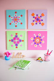 diy colorful canvas wall art with fl stickers via designimprovised com