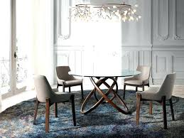 modern round dining table glass with curved walnut base room modern round dining table