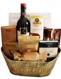 red wine chocolate gift basket