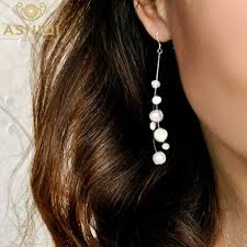 <b>ASHIQI</b> White <b>Natural</b> Freshwater Baroque Pearl Earrings 925 ...