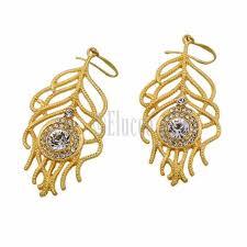 inlay zircon gold colored leaf chandelier earrings