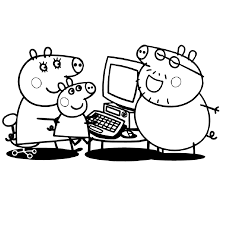 Coloring Ideas Peppa Computer Coloring Sheet Playing Game Pages