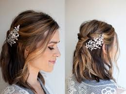 half up hairstyle with twist for short hair