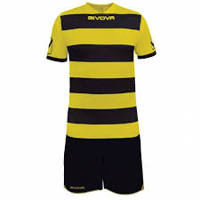 givova rugby set jersey with short kit black yellow
