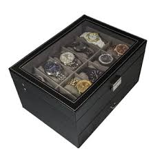 watch boxes shop the best deals on watch accessories for 2017 sorbus watch box large 20 mens black leather display glass top jewelry case organizer