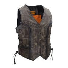 las motorcycle distressed leather vest