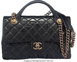 Chanel Black Glazed Calfskin Leather Classic Quilted Castle | Lot ... & ... Luxury Accessories:Bags, Chanel Black Glazed Calfskin Leather Classic Quilted  Castle RockTop Handle Flap ... Adamdwight.com