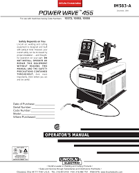Lincoln Electric Power Wave 455tm Im583 A Users Manual
