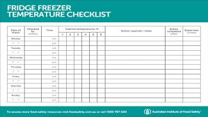 Restaurant Fridge Temperature Chart Fridge Freezer Temperature Checklist