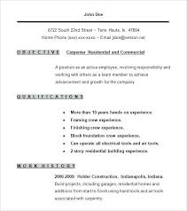 Carpenter Resume Template Sample Carpenter Resumes Free Carpenter