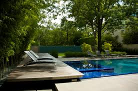swimming pool: Captivating Backyard Home Decoration With Amazing Pool  Design Surround With Natural Bamboo Trees
