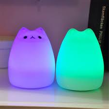Usb Oplaadbare Led Kleurrijke Nachtlampje Dier Kat Stype Siliconen