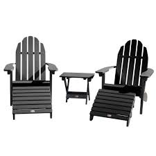 2 essential adirondack chairs with folding side table 2 folding ottomans