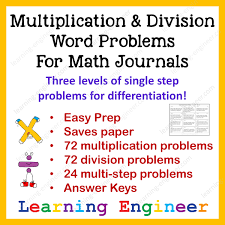 multiplication and division word problems for math journals