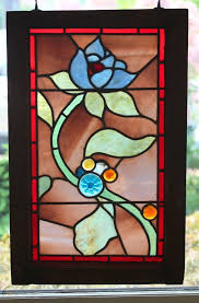 antique stained glass window pair pre