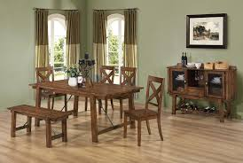 chair dining room tables rustic chairs:  dining table with side chair dining bench and server with rack in rustic finish