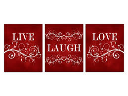 live laugh love canvas red wall art