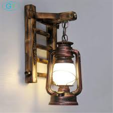 Rustic Lantern Lights Us 85 0 Chinese Styl Bamboo Ladder Wall Lamps Vintage Barn Lantern Rustic Wall Sconces Lighting Kerosene Oil Lamp Matty Fixture In Wall Lamps From
