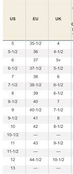 Uk Us Euro Womens Shoe Sizing Conversion Chart Lovely