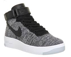 office air force 1. Buy Black White W Nike Air Force 1 Mid Flyknit From OFFICE.co.uk Office M