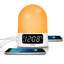 sunrise simulator alarm clock with blue tooth or usb ports white sharp