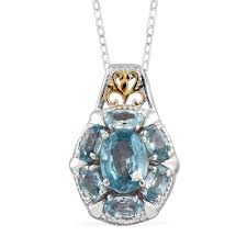 cambodian blue zircon 14k yg and platinum over sterling silver pendant with chain 20 in tgw 4 45 cts pendants jewelry lc