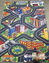 3x5 area rug play road driving time street car kids city map parking new gray for