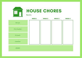 Green White Simple House Monthly Chore Chart Templates By