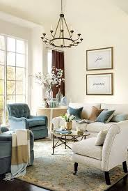 Beige and Blue Themed Living Room Decor