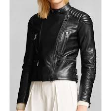 asymmetrical zipped padded womens motorcycle leather jacket for