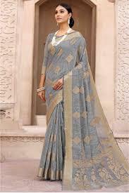Grey Color Designer Blouse Silk Designer Saree In Grey Colour