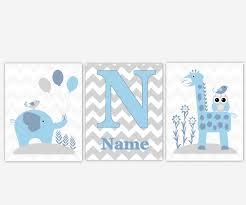 baby boys canvas nursery wall art blue gray grey elephant giraffe jungle safari zoo animals chevron personalize name canvas prints baby nursery decor on baby canvas wall art with baby boys canvas nursery wall art blue gray grey elephant giraffe