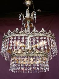 vintage chandelier er re chandelier lampadario with cut glass crystals france