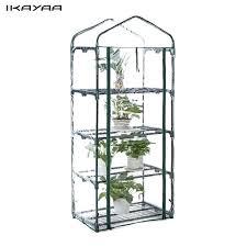 greenhouse shelf outdoor garden 4 tier mini green house w shelves metal frame bunnings