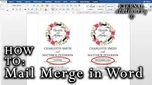 How To Design Invitations In Word How To Mail Merge Names On Wedding Invitations Microsoft