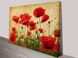 vintage poppies flower art canvas prints melbourne pertaining to metal poppy wall art photo