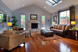 brazilian-cherry-hardwood-flooring-Living-Room-Contemporary-with-blue-wall- brown-and-blue-brown-curtains-brown-rug