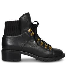 bordo black leather combat ankle boot