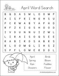 Printable Kids Free Printable April Word Search Printable Puzzle For Kids