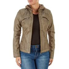 faux leather jacket with knit hood